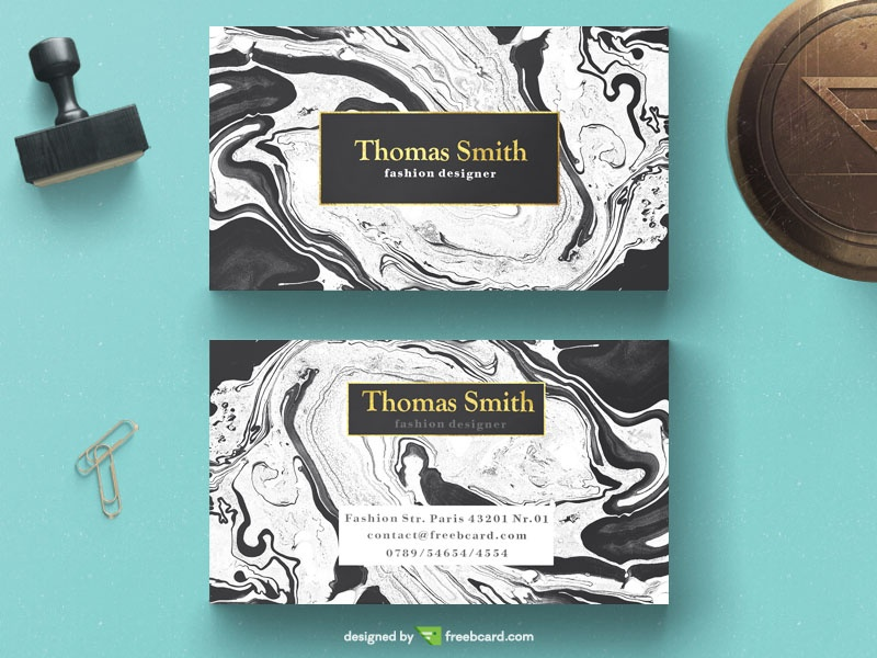 Free Elegant business card on white marble background download