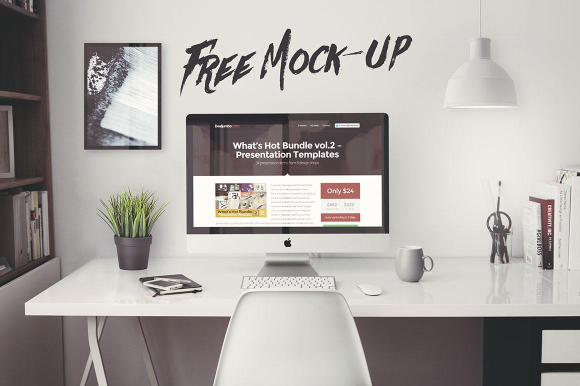iMac Office Mockup - Free PSD