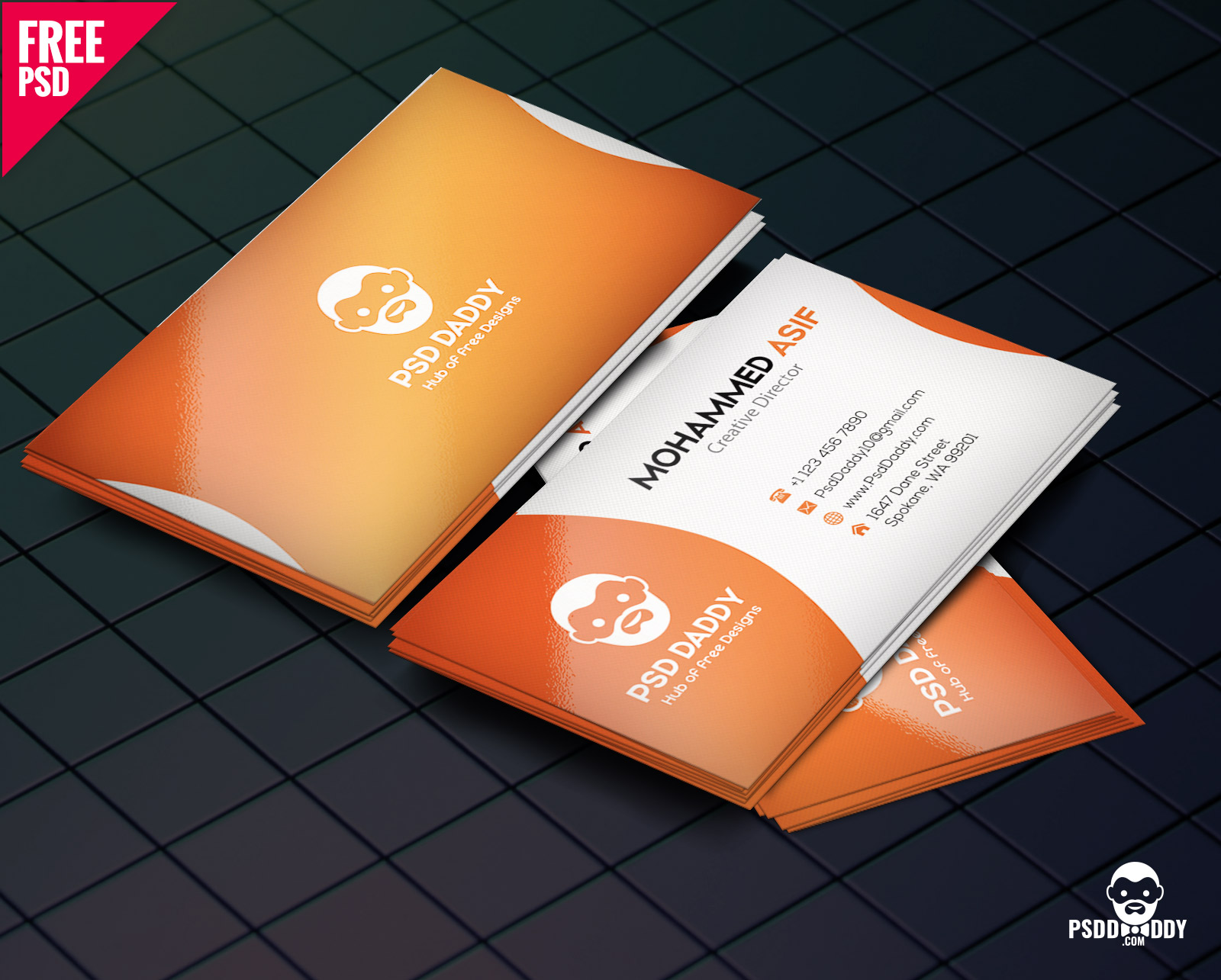 Download] Business Card Design PSD Free  PsdDaddy.com Within Free Psd Visiting Card Templates Download