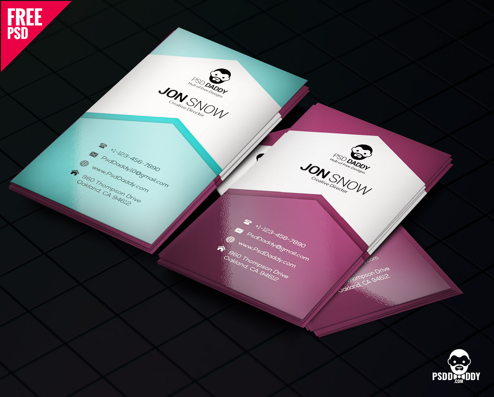 DownloadCreative Business Card PSD Free PsdDaddycom - Business card templates psd free download