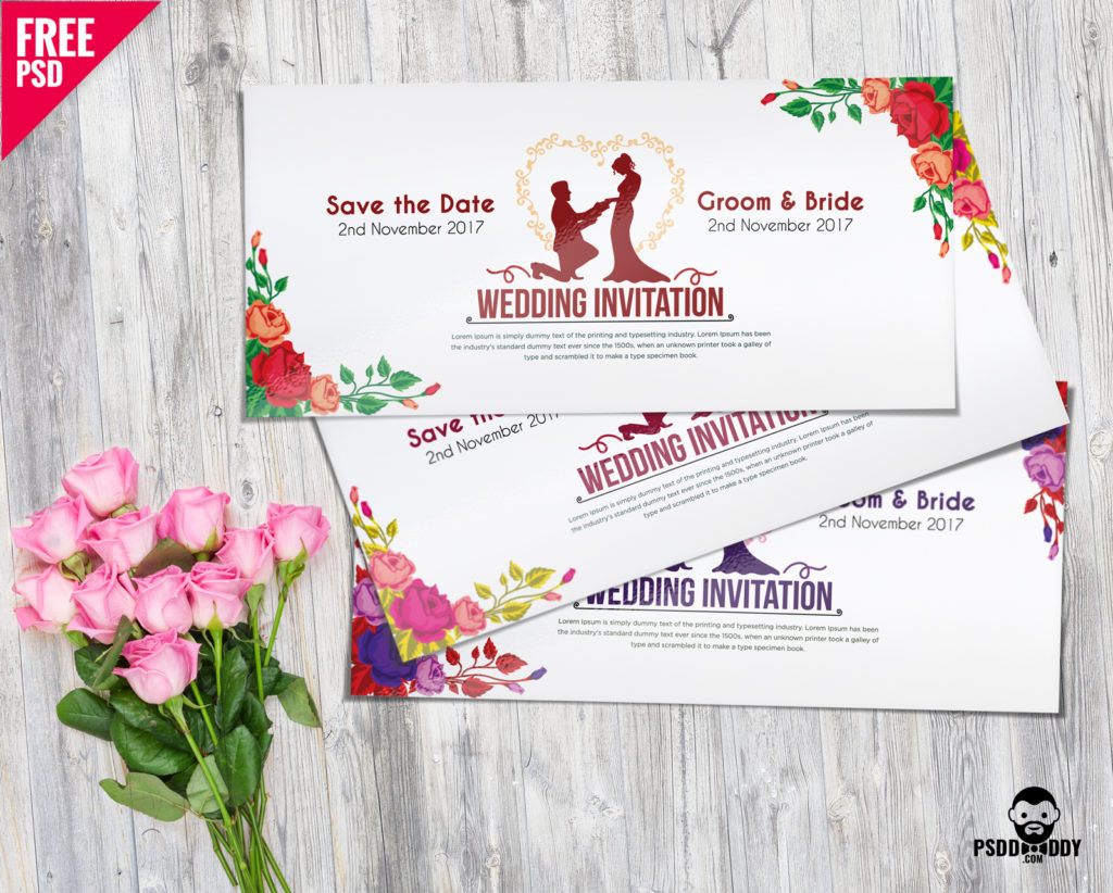 Download Wedding Invitation Card Psd Mockup Psddaddy Com