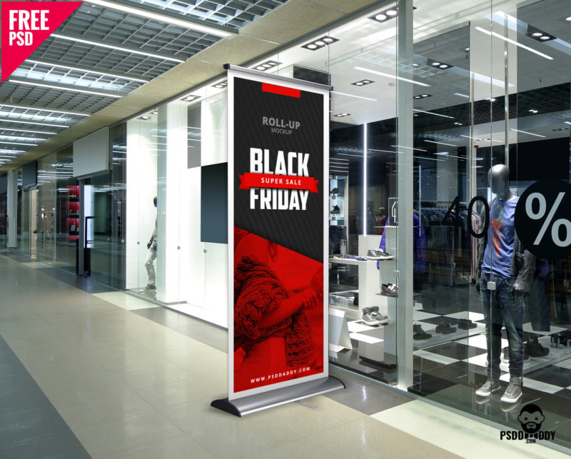 Black Friday Roll Up Banner Mockup Free PSD