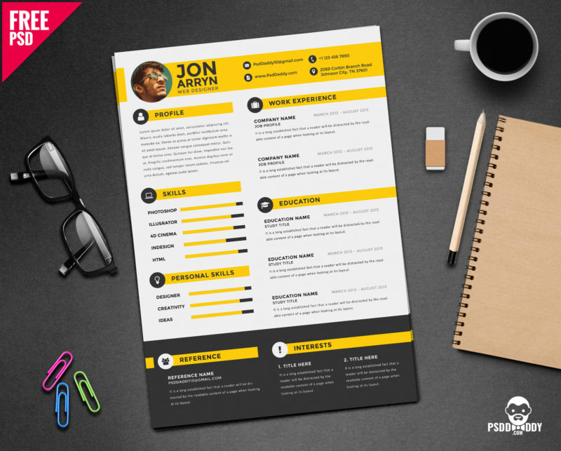 Download Creative Resume Template Free PSD PsdDaddycom - Cool resume templates free download