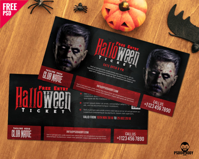 Download] Halloween Free Entry Ticket PSD Template | PsdDaddy.com