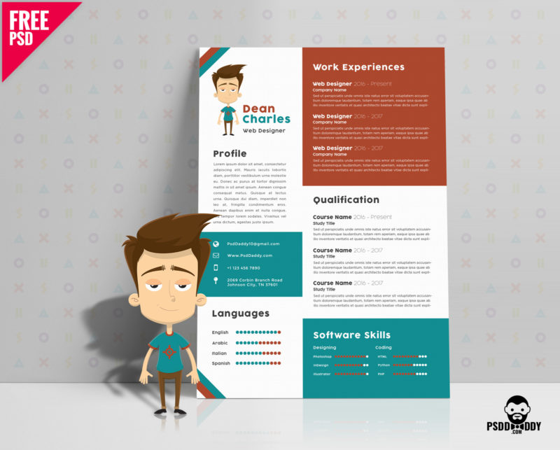 download  simple resume design free psd