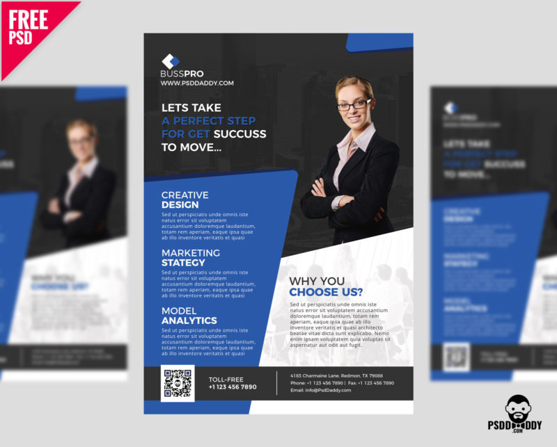 Download Business Flyer Template Free PSD PsdDaddycom - Business brochures templates free