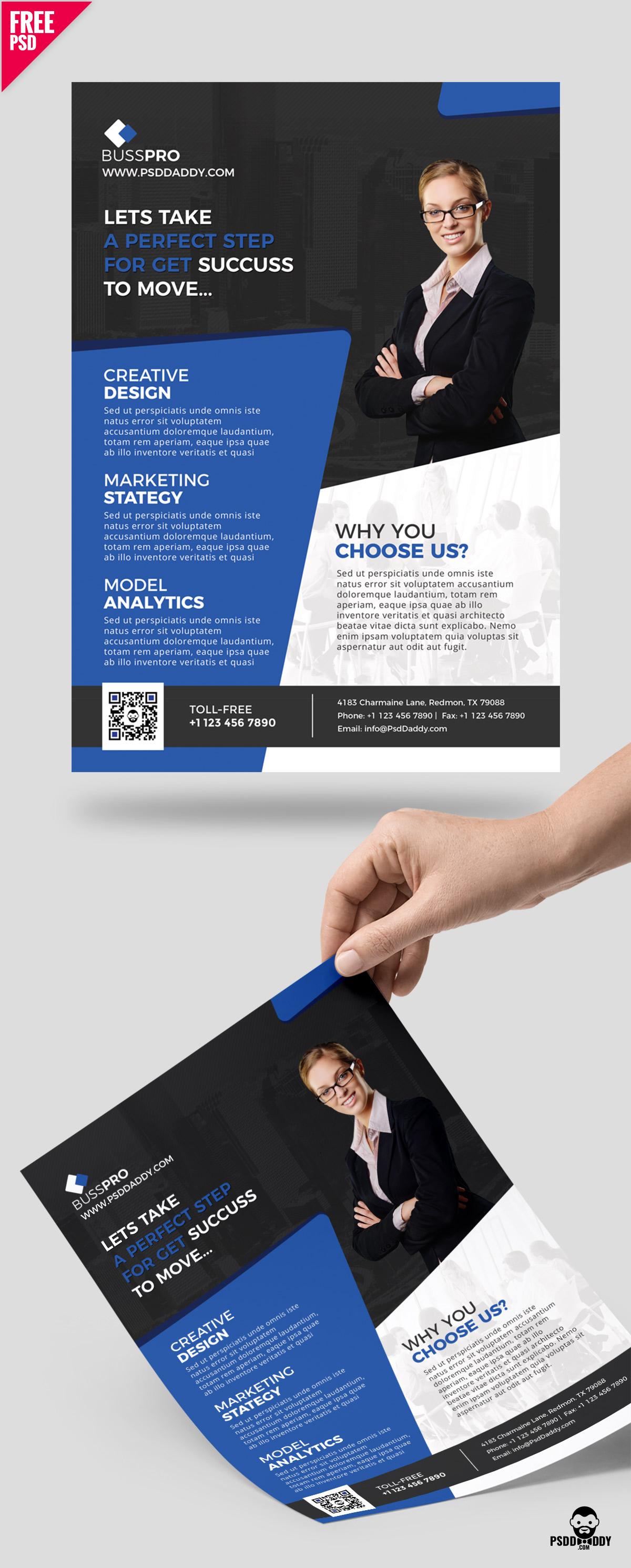 Business flyer template free psd for Cost to design a brochure