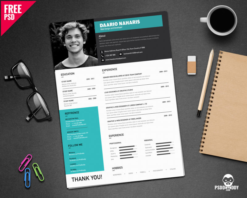 Download Creative Resume Template Free Psd Psddaddy Com