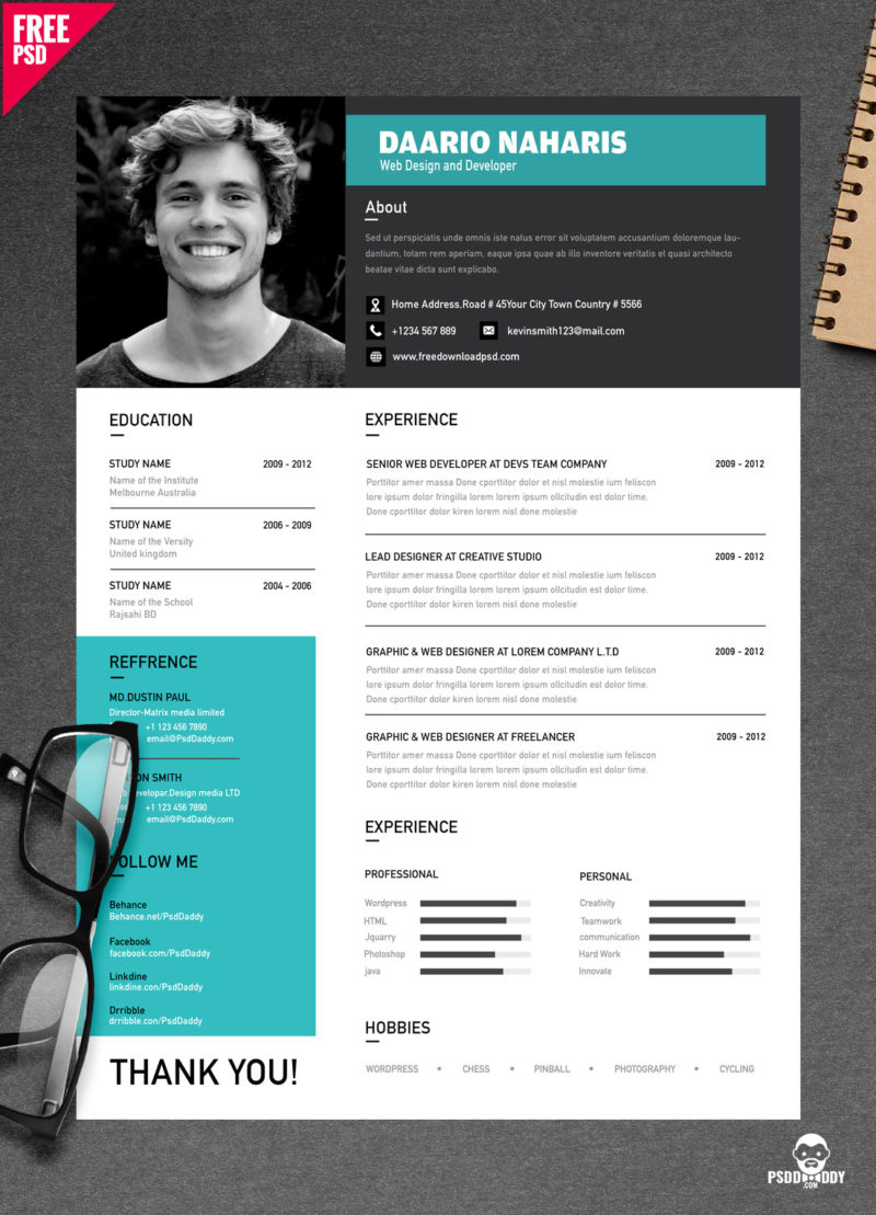 download simple resume design free psd psddaddycom - Creative Resume Design Templates
