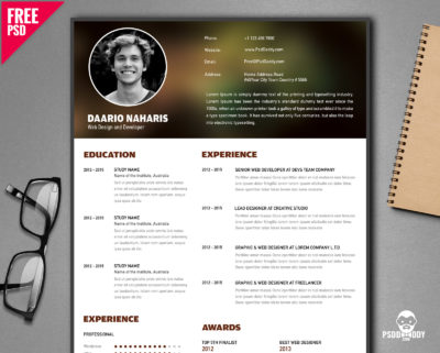 20 best resume templates free psd psddaddy free creative resume template psd yelopaper Images
