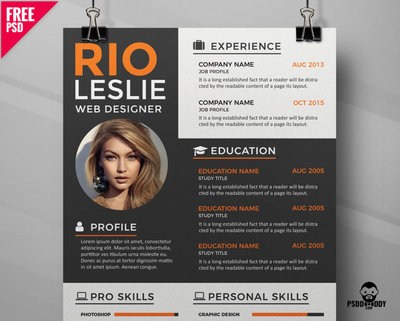 Creative Resume Cv Psd Template Psddaddy Com