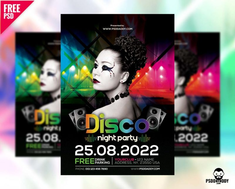 Disco Night Party Flyer Free PSD