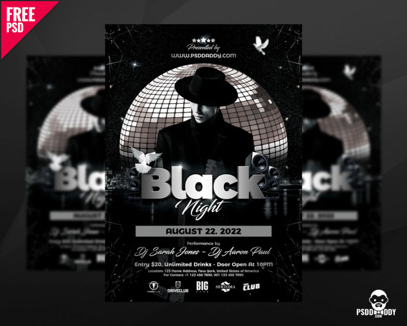 Download Black Night Club Flyer Psd  PsddaddyCom