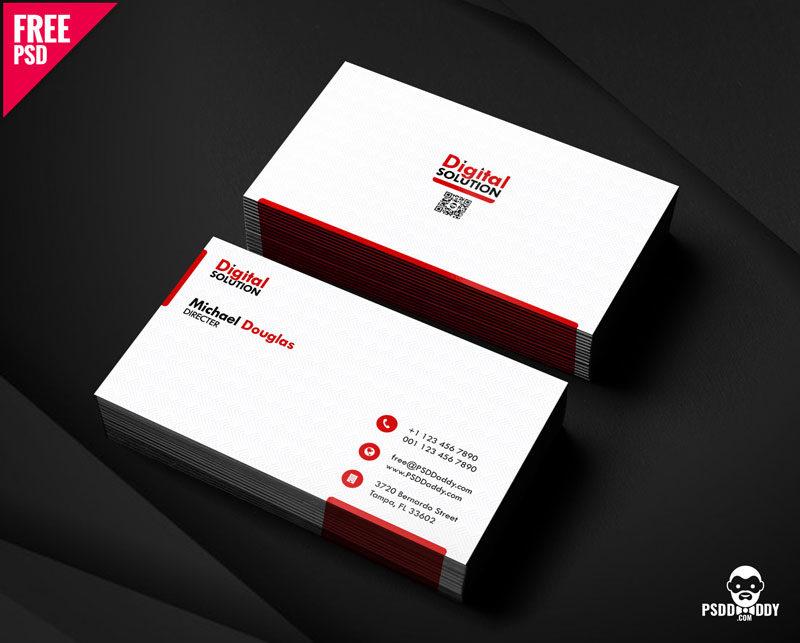 Free Simple Business Card Psd Template Psddaddy Com