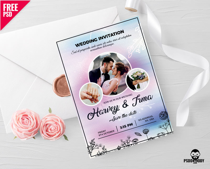 Download Wedding Invitation Card Free Psd Psddaddy Com