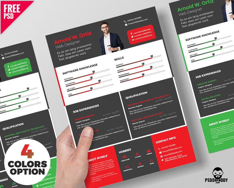 Creative Resume Template Free Psd Bundle Psddaddy Com