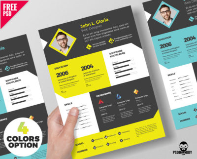 Designer Resume Template Free PSD Bundle