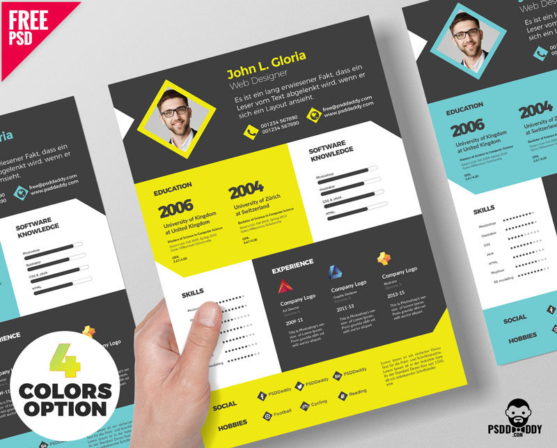 Designer Resume Template Free PSD Bundle | PsdDaddy.com