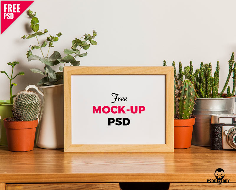 Table Photo Frame Free Mockup PSD – PsdDaddy.com