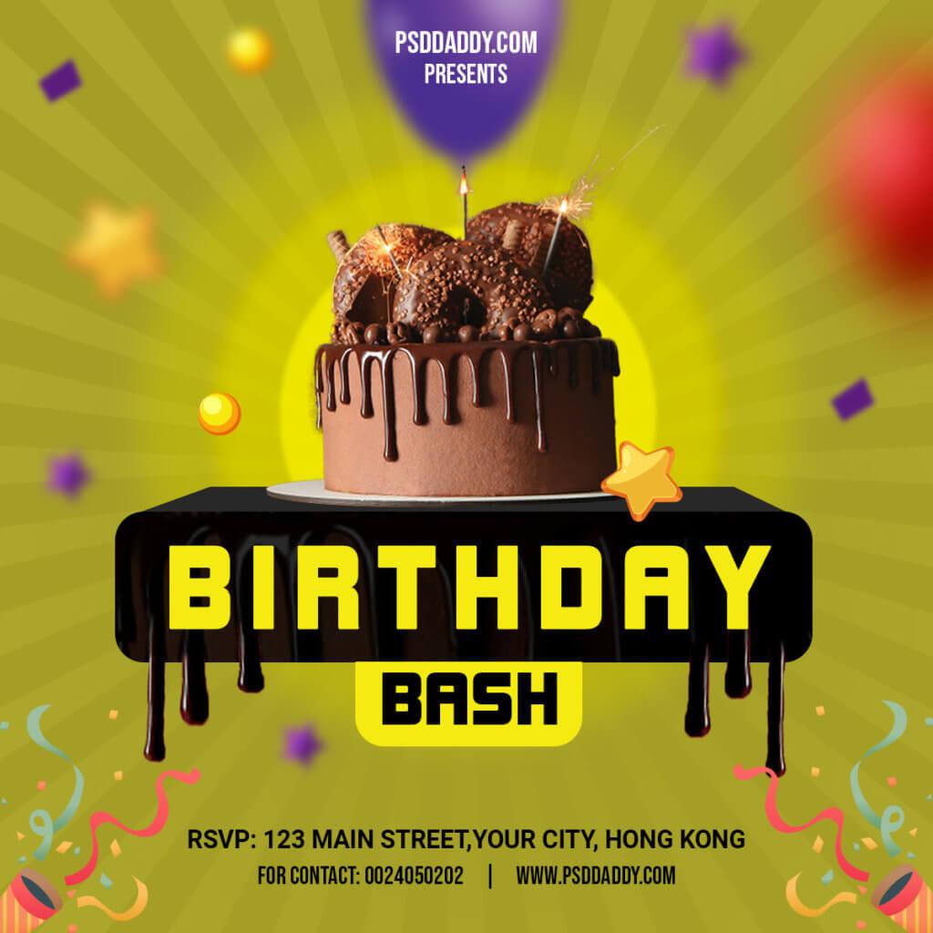 Birthday,Birthday Bash Flyer,Birthday Event,Birthday Invite,Birthday Party Flyer,Invitation Flyer,Invitation Social Media,Social media,Balloons,Cakes,Birthday Social Media