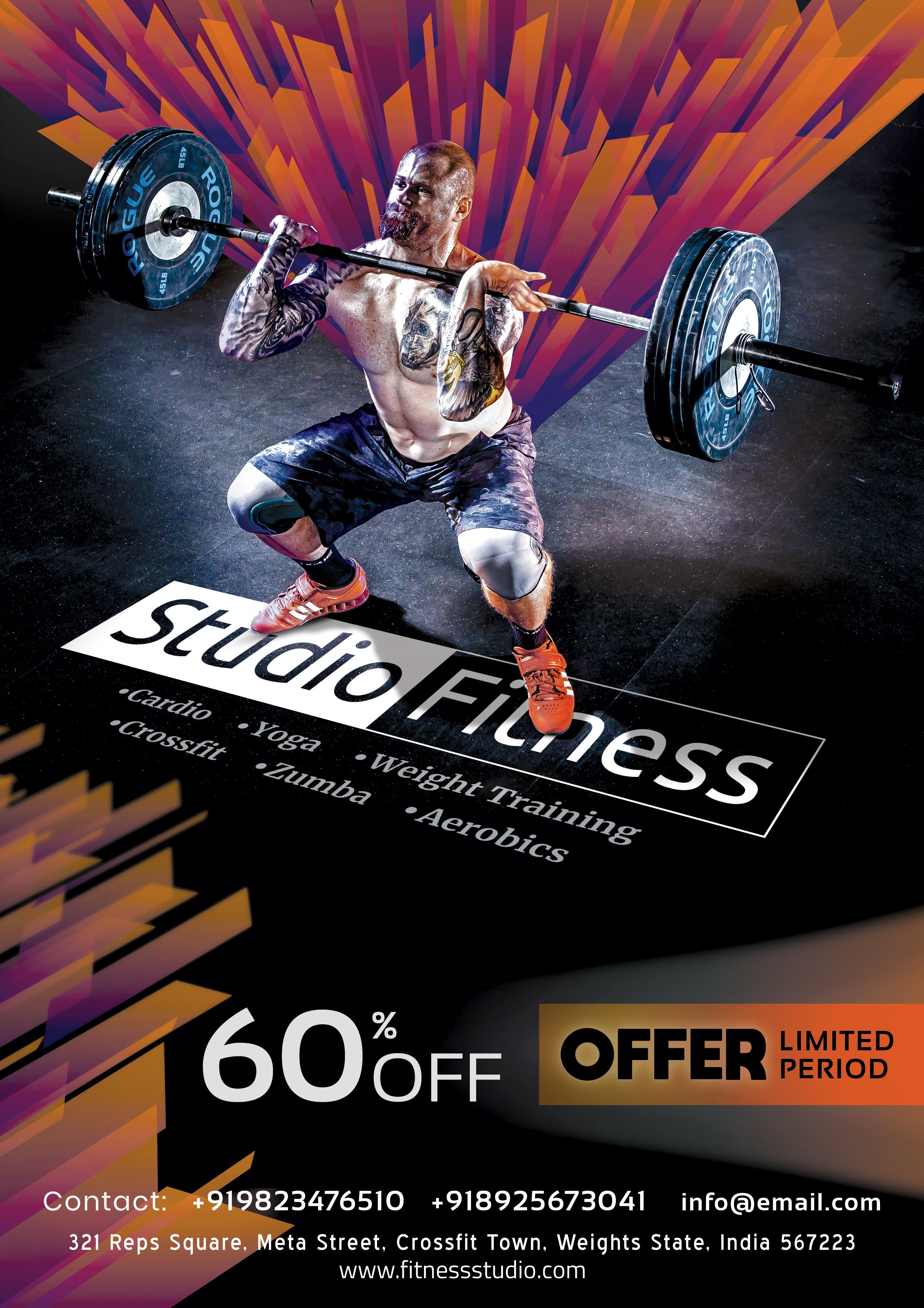 Gym Fitness Flyer + Social Media Free PSD Template